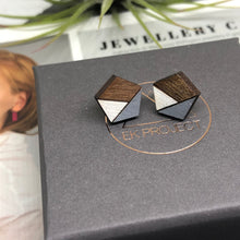 Load image into Gallery viewer, Grey Pentagon Studs