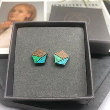Load image into Gallery viewer, Turquoise Pentagon Studs