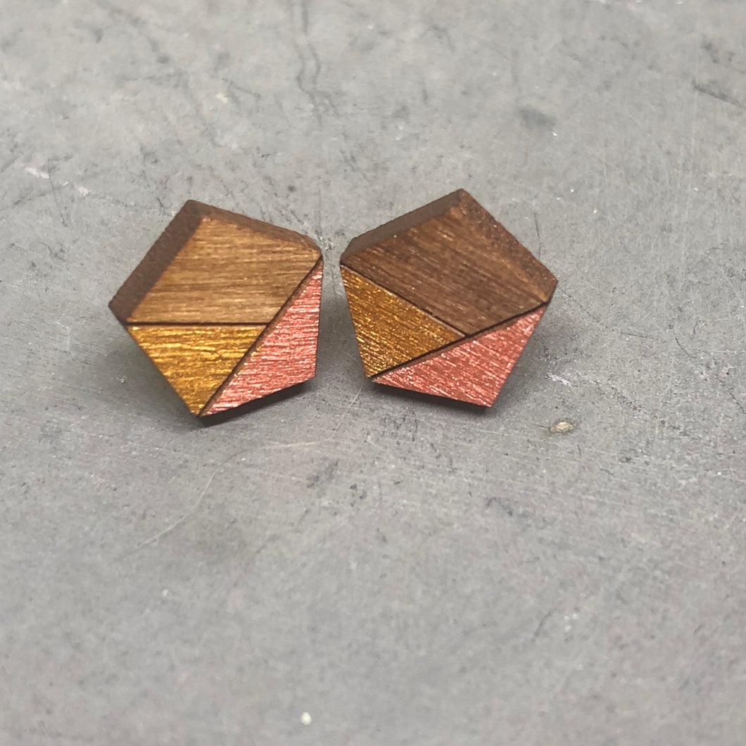 Rose Gold Pentagon Studs