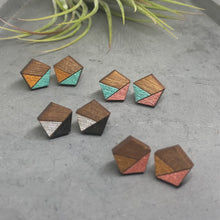 Load image into Gallery viewer, Shimmery Green Pentagon Studs