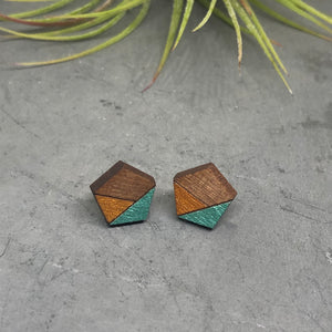 Shimmery Green Pentagon Studs
