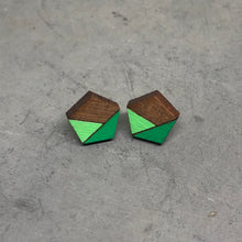 Load image into Gallery viewer, Green Pentagon Studs