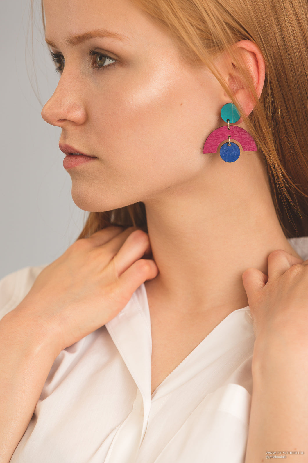 Arch Geo Statement Earrings in Pink