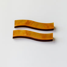 Load image into Gallery viewer, Aurora minimalist long studs in caramel