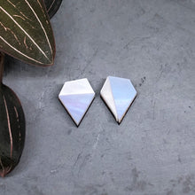 Load image into Gallery viewer, Aurora mismatched diamond shape studs in iridescent