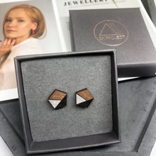 Load image into Gallery viewer, Black & Silver Pentagon Studs