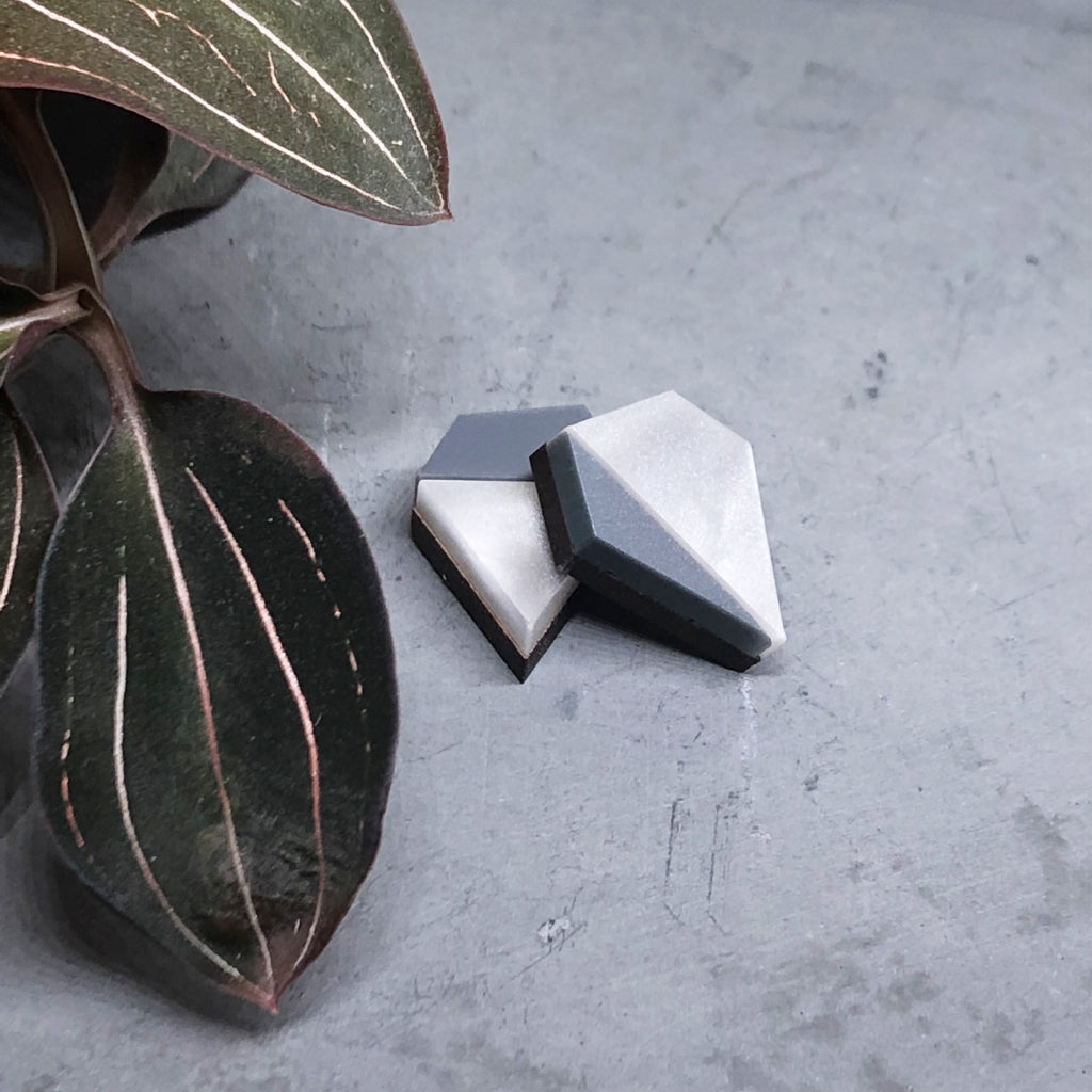 Aurora mismatched diamond shape studs in grey marble
