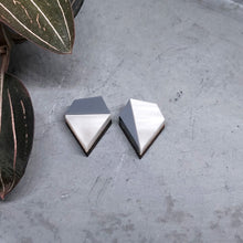 Load image into Gallery viewer, Aurora mismatched diamond shape studs in grey marble