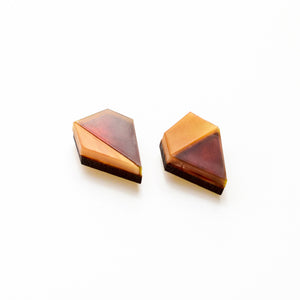 Aurora mismatched diamond shape studs in tortoiseshell