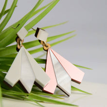 Load image into Gallery viewer, Aurora geometric statement earrings in rose gold