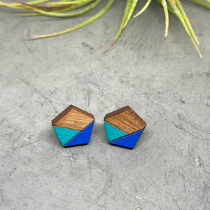 Blue & Turquoise Pentagon Studs