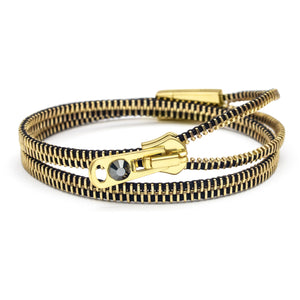 brass zipper bracelet zipped up for 2 strands
