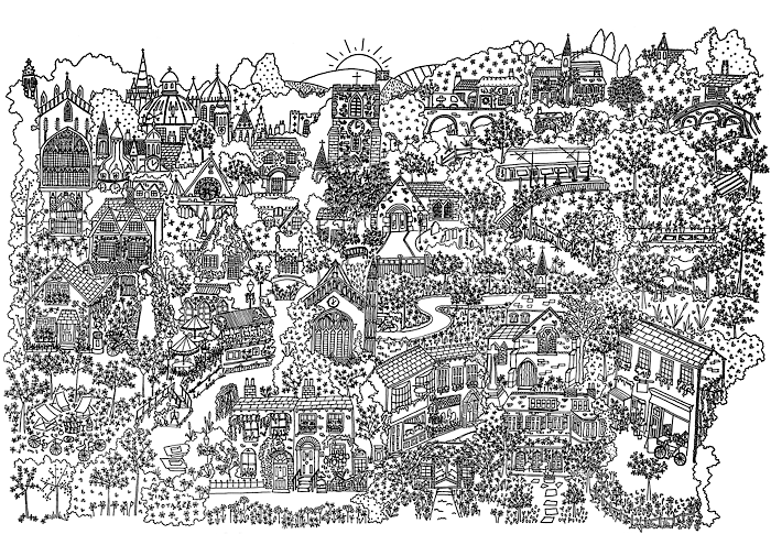 Cambridge in Springtime - Colouring-In Sheet-Download-Tiny Potager-Tiny Potager