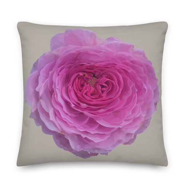 The Audrey Rose - French Grey - Premium Pillow-Tiny Potager-22×22-Tiny Potager