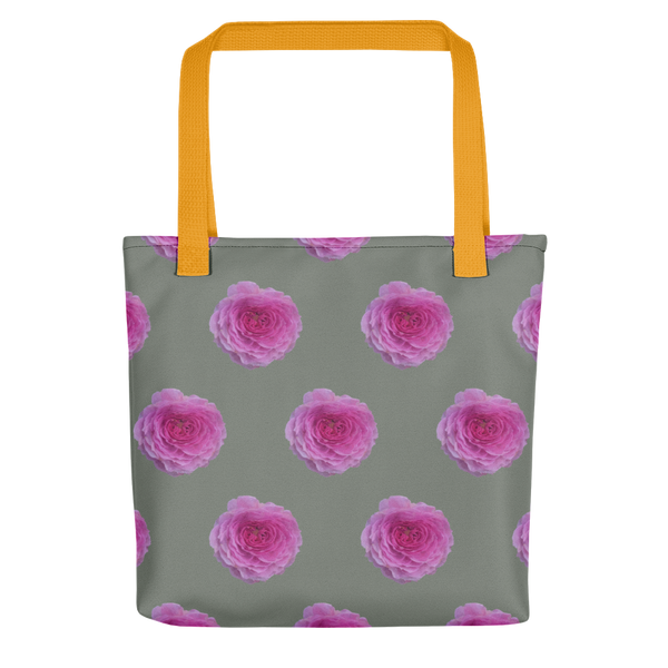 The Audrey Rose - Forest Green - Small Print Pattern - Tote bag-Tiny Potager-Yellow-Tiny Potager