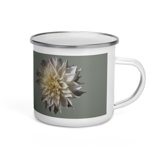 Dahlia - Forest Green Enamel Mug-Tiny Potager-Tiny Potager