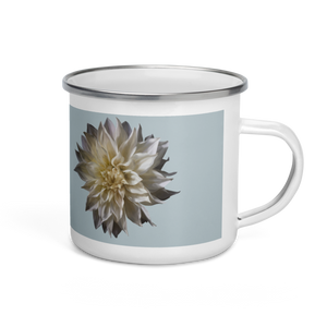 Dahlia - Chalk Grey Enamel Mug-Tiny Potager-Tiny Potager