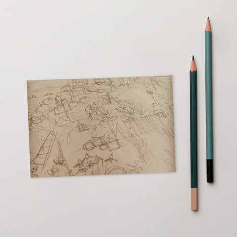Autumn Garden - Original Sketch Postcard-Tiny Potager-Tiny Potager