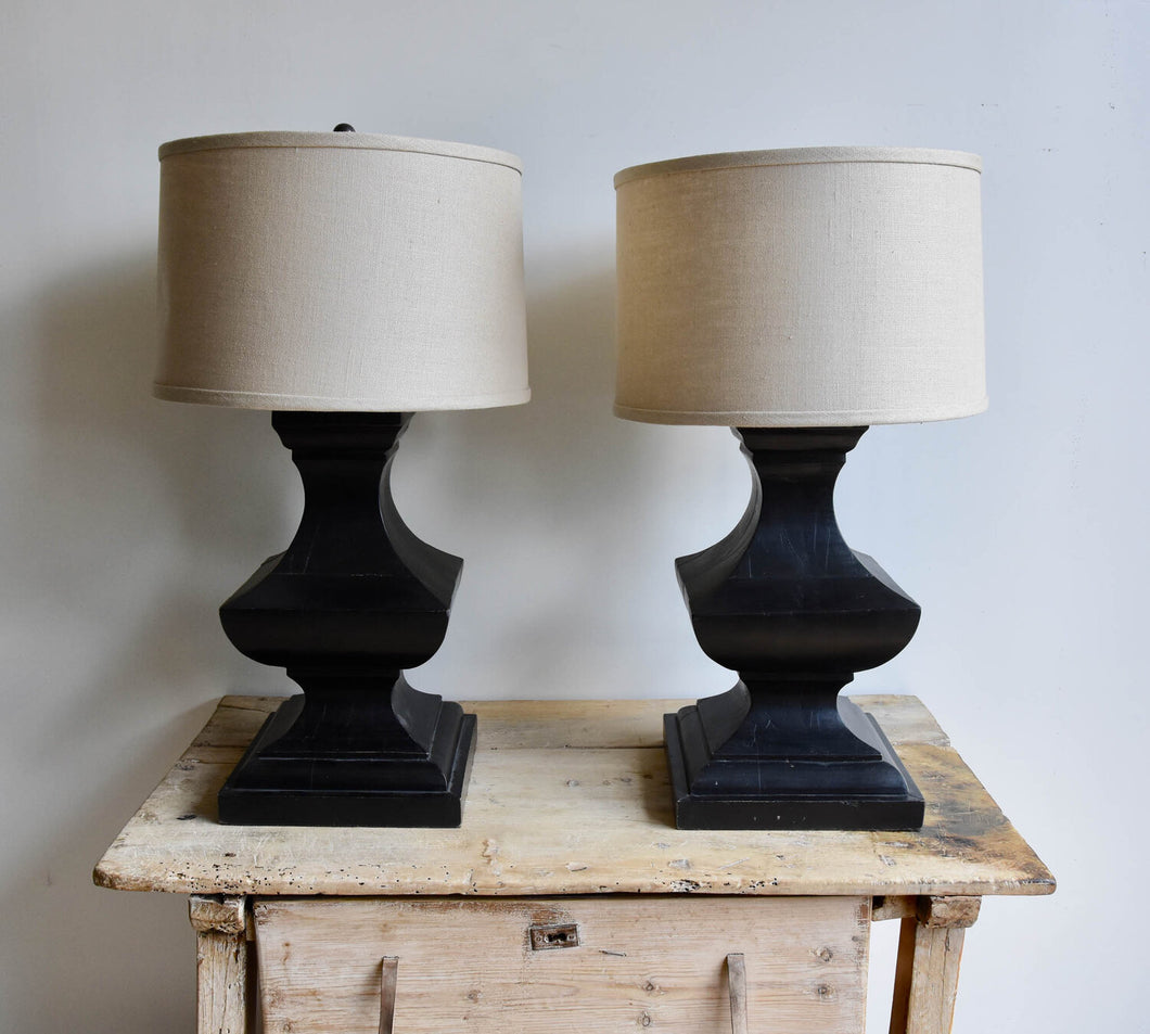 Large Black Wood Baluster Table Lamps