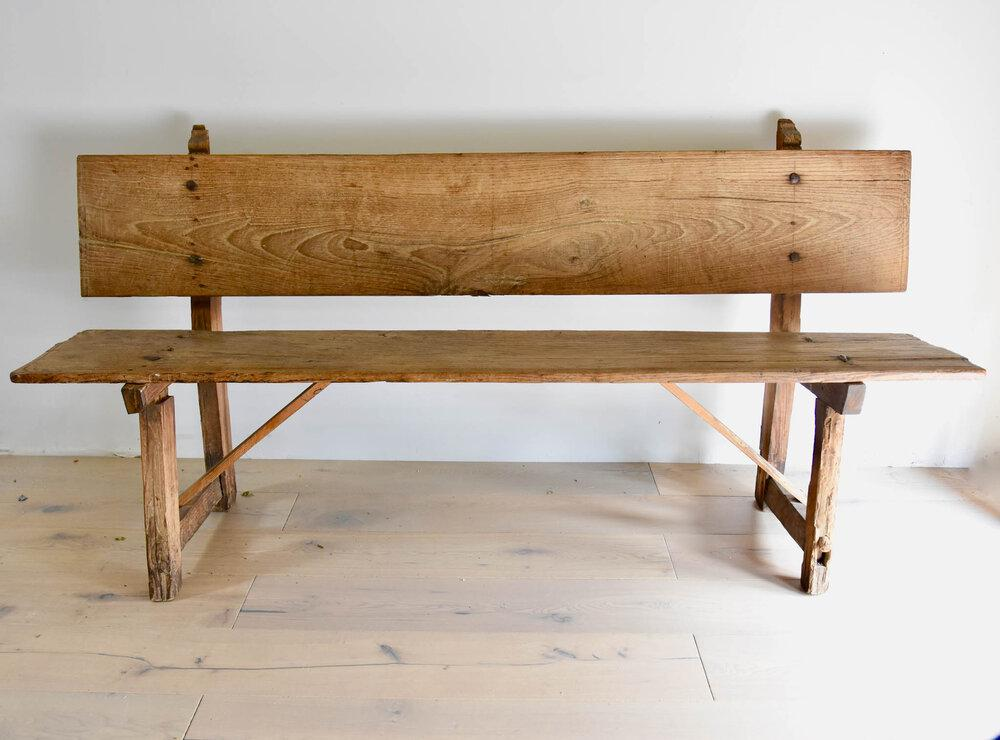 Antique Pine Spanish Bench