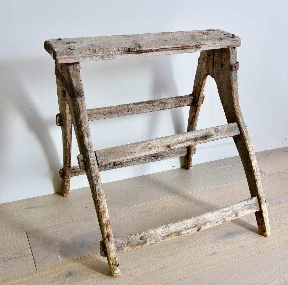 Rare Rustic Antique Wooden Stool