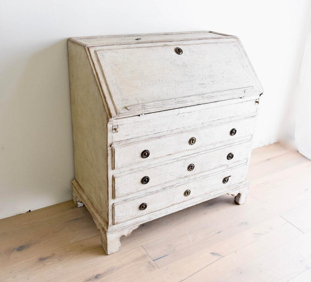 Antique Swedish Secretaire with Later Paint