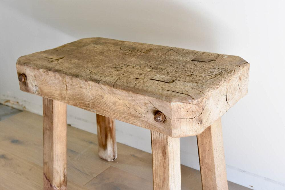 Antique French Elm Table/Stool