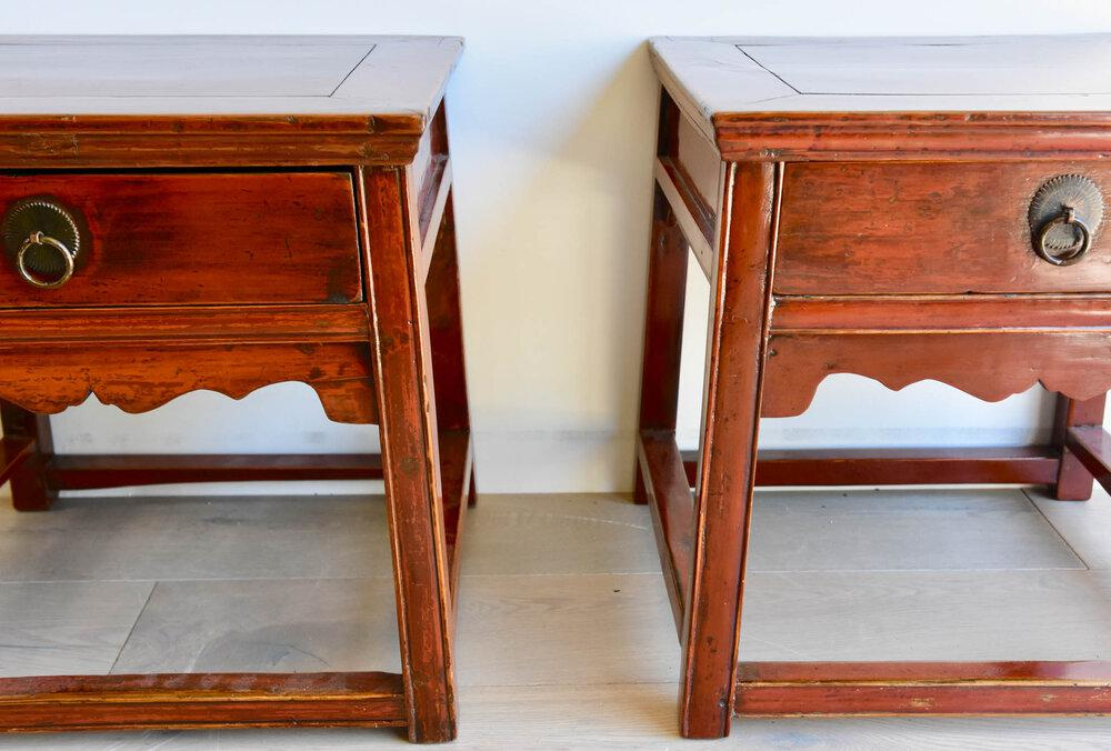 Pair of Authentic Chinese 19th Century Ju Wood Stools/Tables