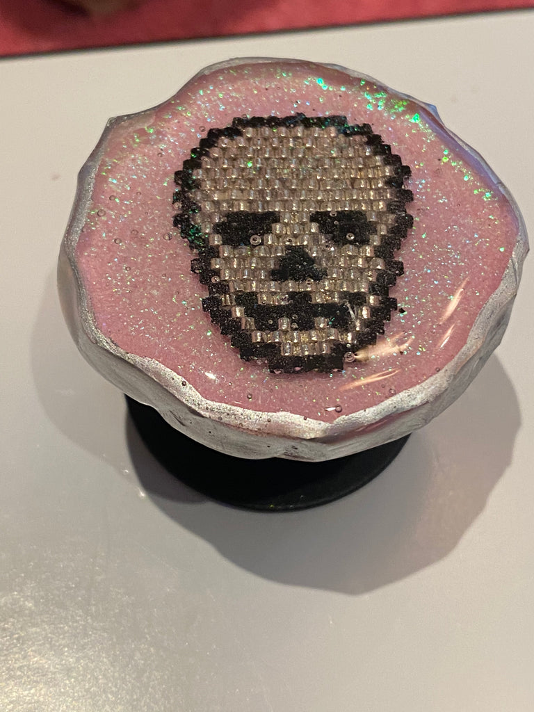 Pink and silver skull phone grip