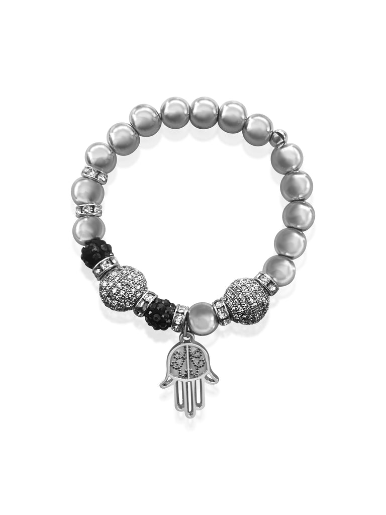 Silver Hematite Beaded Bracelet with Micro Pave Charms