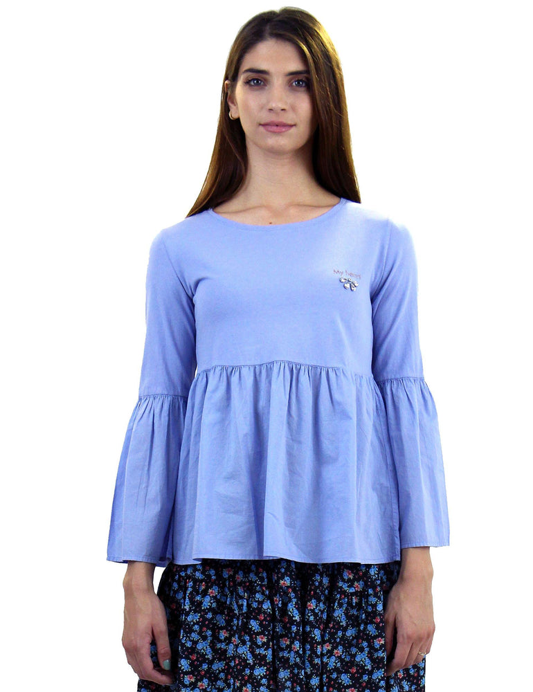 Μπλούζα cotton σε χρώμα baby blue - Laceboutique.gr