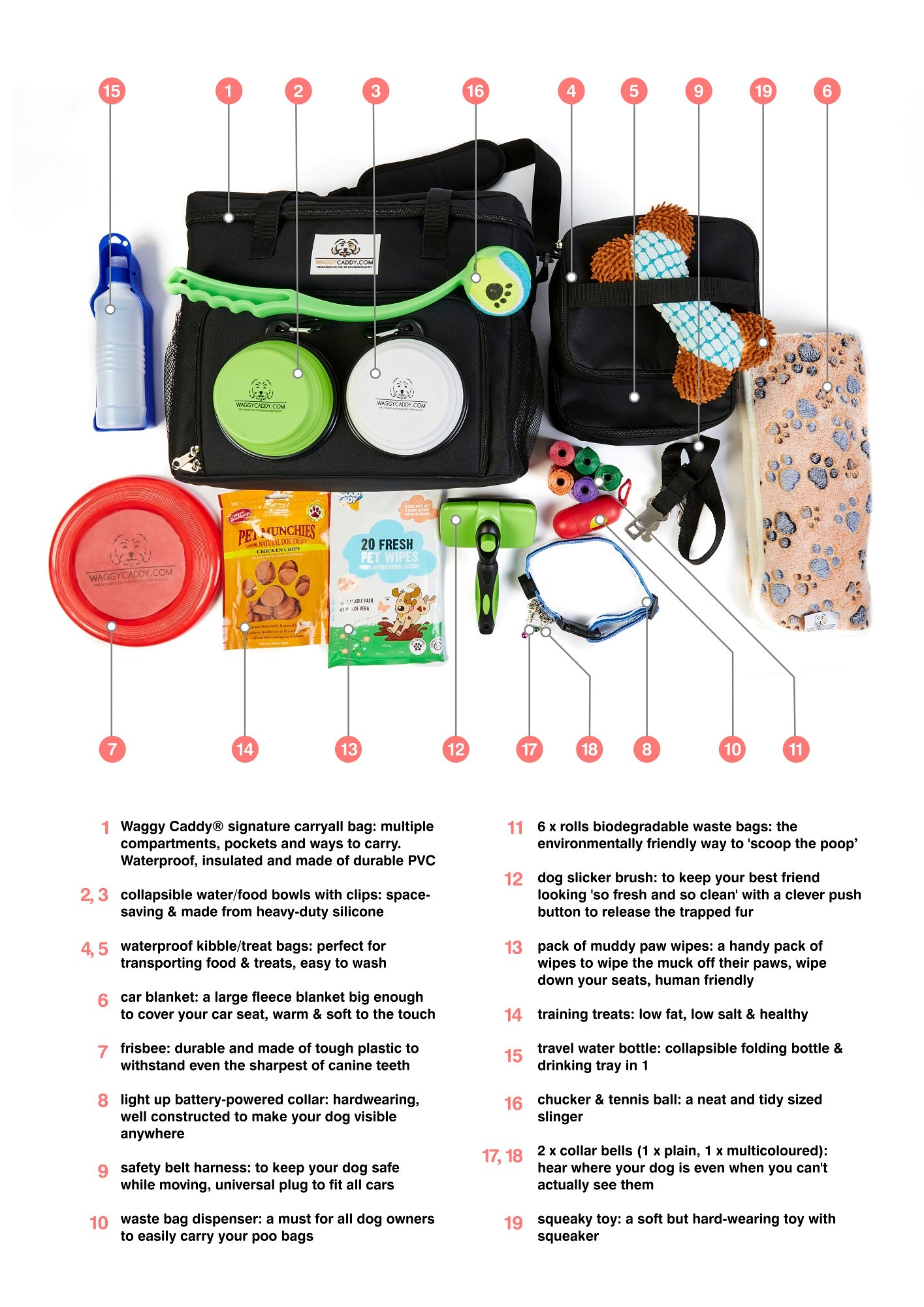 waggy caddy essentail carryall dog kit necessities