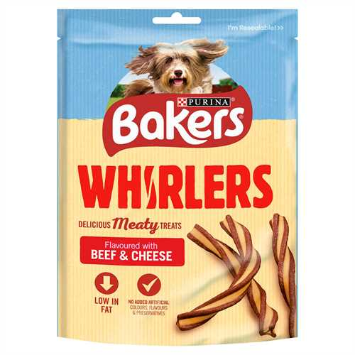 Purina Bakers Treats Whirlers Beef & Cheese Pack 175g