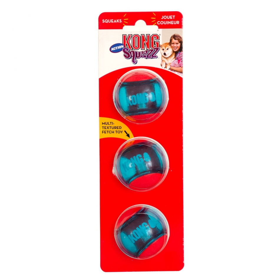 KONG Squeezz Action Sports Ball Small - 3 pack