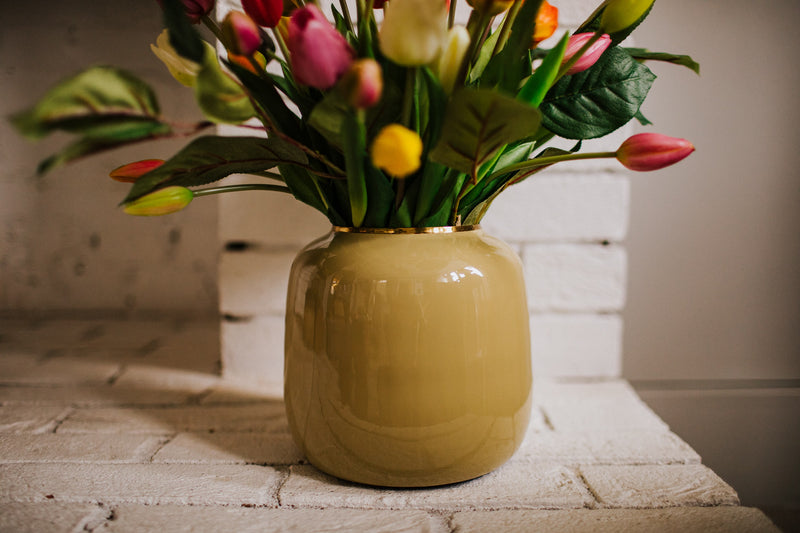 Luxury artificial Tulip arrangement styled in a sleek vase perfect for home styling or to gift.