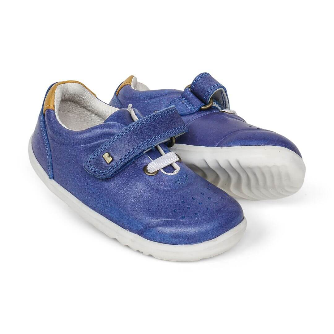 Bobux Ryder Blueberry step up primi passi due scarpe fronte suola onde no marking