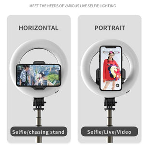 Wireless 4-in-1 Bluetooth Selfie Stick With LED Ring Light