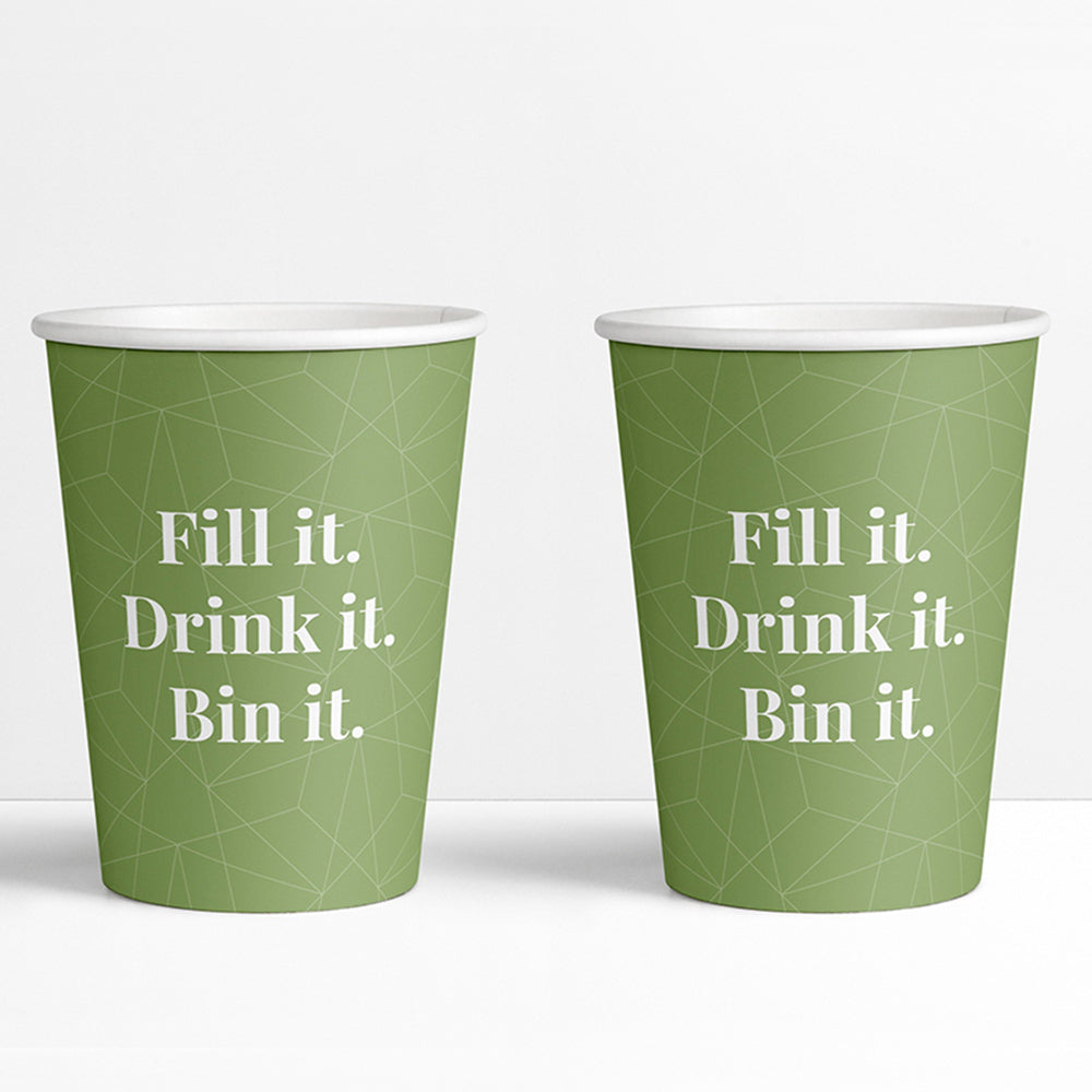 Recyclable Covid-19 Message Paper Cups 8oz (1000s)