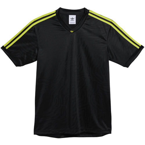 Adidas Jacquard Jersey T-Shirt Black Acid Yellow