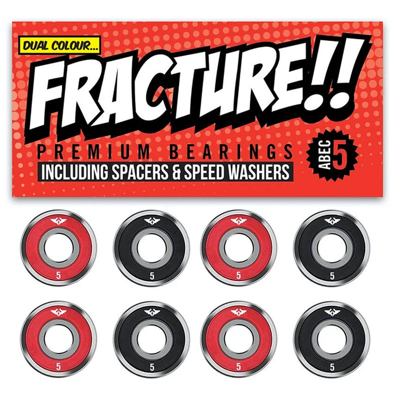 Fracture Premium Skateboard Bearings Abec 5 Red