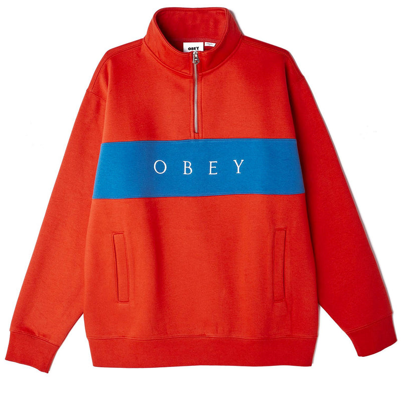 OBEY Ian Mock Neck Zip Sweater Chili Red