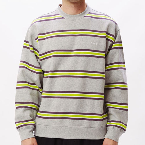OBEY Ideals Organic Stripe Crew Sweater Ash Grey