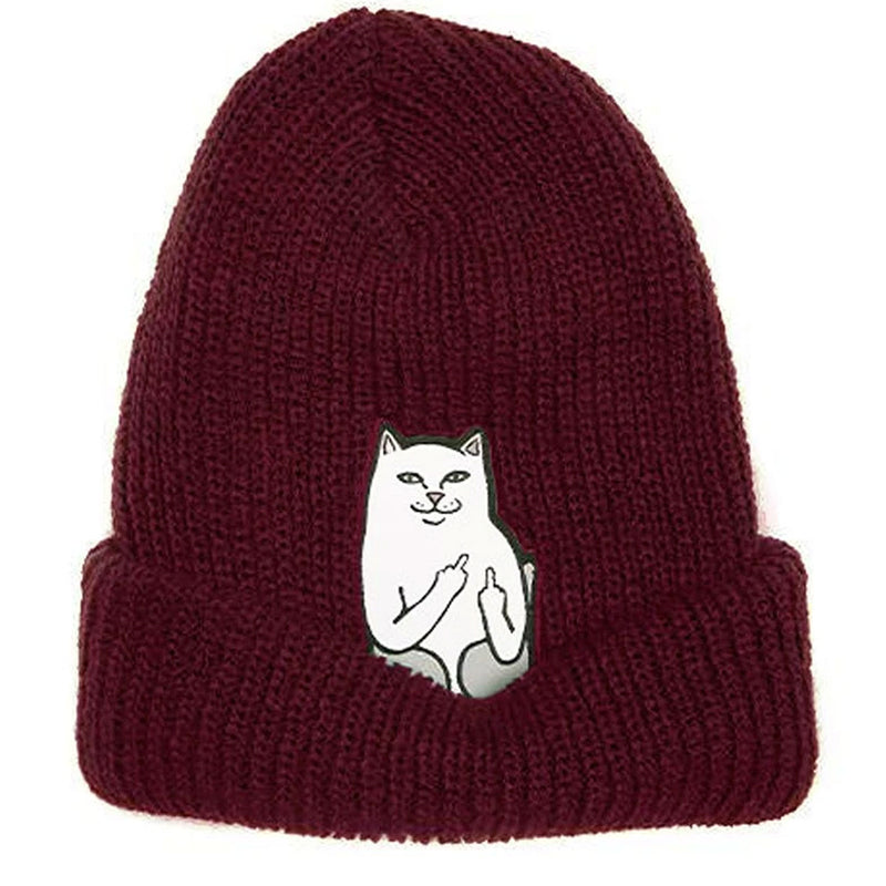 Ripndip Lord Nermal Ribbed Beanie Burgundy