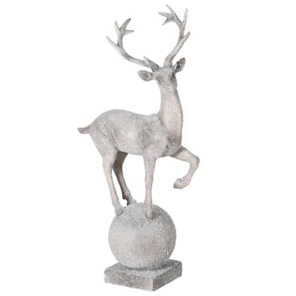 Frosted Grey Prancing Deer Decoration