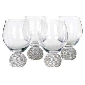 Silver Diamante Dining Glass