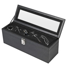 Load image into Gallery viewer, Leather Black Wine Case with Tools