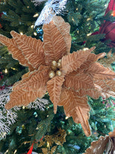 Load image into Gallery viewer, Gold velvet poinsettia