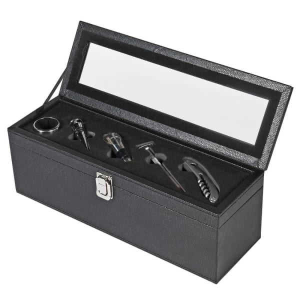 Leather Black Wine Case with Tools