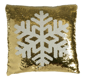 White and Gold Sequin Snowflake Cushion