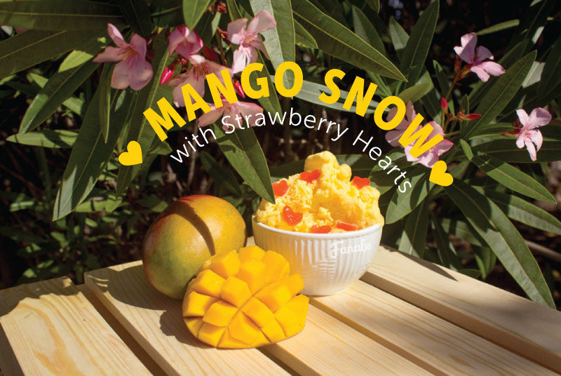 Mango Snow with Strawberry Hearts